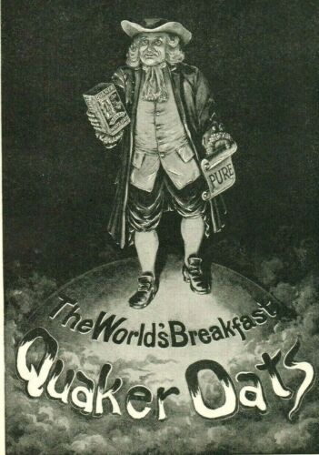 1895 QUAKER OATS Breakfast Cereal Puritan Man Tin Can Scroll World PAPER AD 3963
