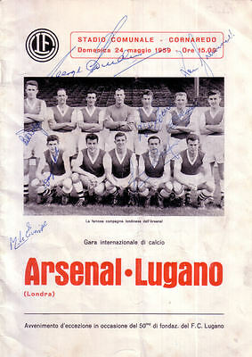 Lugano v. Arsenal 24/5/1959 Friendly signed by 8 Arsenal players and Manager