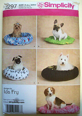 Dog puppy beds in two styles for x-sm sm med dogs  uncut pattern 2297