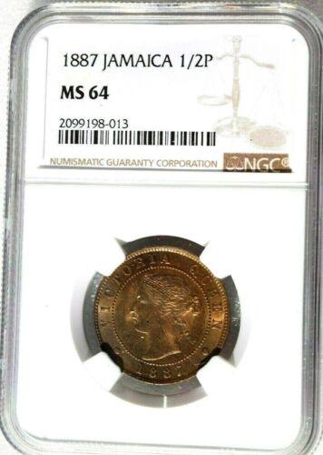 1887 Jamaica 1/2 Penny, NGC MS 64