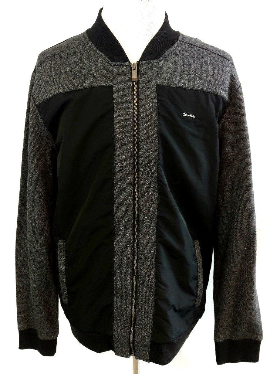 Calvin Klein Mens Jacket Gray Black Colorblock Fleece Lined