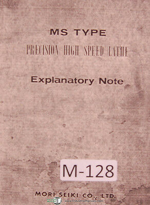 Mori Seiki Operators Instructions Ms Type Lathe Manual