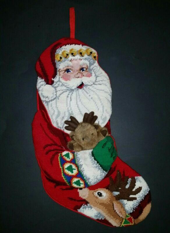 Vtg Needlepoint Christmas Stocking Santa Claus Holding Reindeer Plush Reindeer