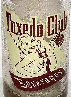 Vintage soda pop bottle TUXEDO CLUB pinup woman pictured Fulton Kentucky Rare