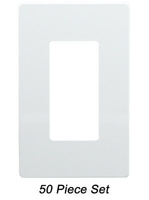 Screwless Decorator Switch GFCI Rocker Outlet Cover Wall Plate 1-Gang (50 Pack)