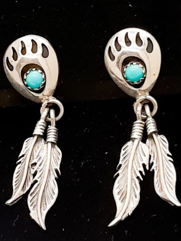 Vintage Sterling Silver 925 Turquoise Bear Paw Feather Pierced Dangle Earrings