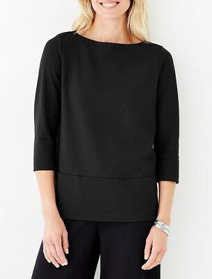 J. Jill 3X(Plus) Stylish & All-day Comfort Soft Knit Pure Black Pullover Top NEW