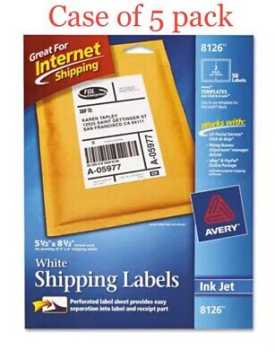 Case Of 5 Pack Avery 8126 Inkjet Shipping Labels - 5.5 X 8.5 50 Labels White