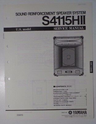 Original Yamaha S4115HII Sound Reinforcement Speaker System  SERVICE Manual for sale  Shipping to India