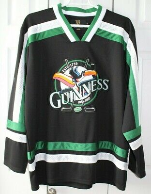 Guinness Toucan Hockey Jersey Black Green XL Ale Beer Stout Bar Stanley Cup