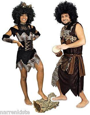Kostüm Dschungel (Afrikaner Neandertaler in  Urwald Steinzeit Höhlen Mensch Dschungel Kostüm Kleid)