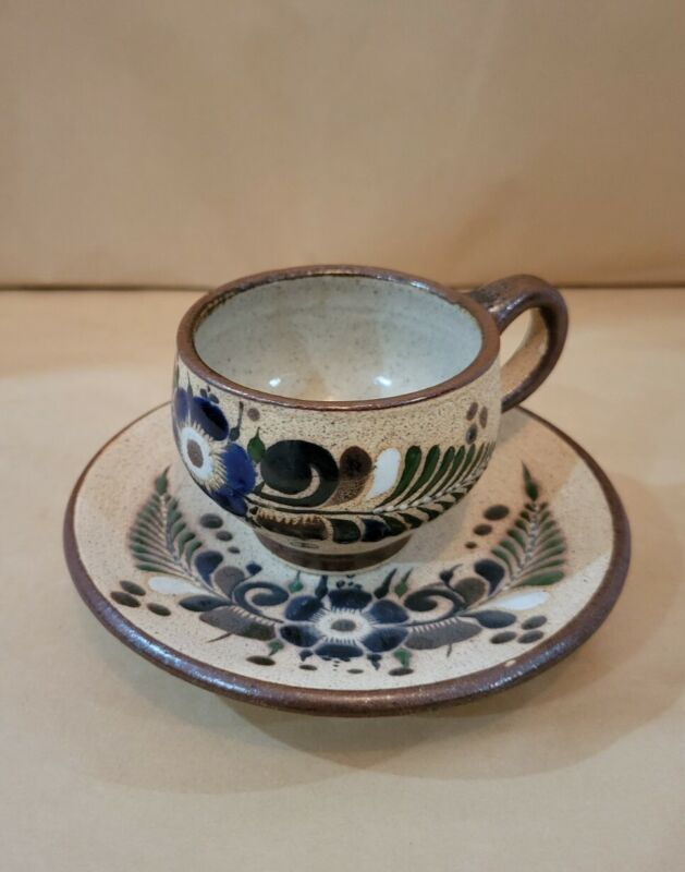Netzi Mex Cup And Saucer Sandstone Stoneware Hand Painted Floral Mexico
