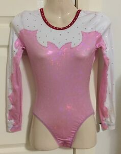**NEW** GK Elite leotard pink shatter glass + white + gems AS adult small NWT