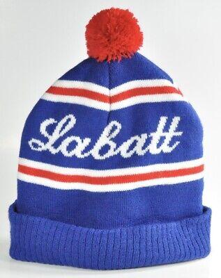 LABATT BEER STRETCH KNIT POM HAT COLD WEATHER TOBOGGAN BEANIE BLUE SKI