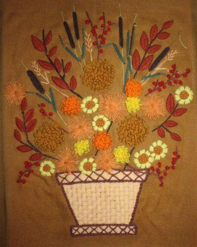 Vintage Floral Arrangement Basket Crewel Embroidery Completed Finished Unframed