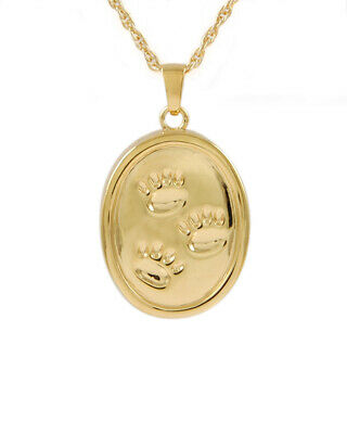 Cremation Urn Jewelry gold oval paws pet memorial pendant necklace
