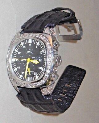 - Men's LARGE 6 ct. DIAMOND Watch with Alligator Strap by Locman Italy BIG & BOLD