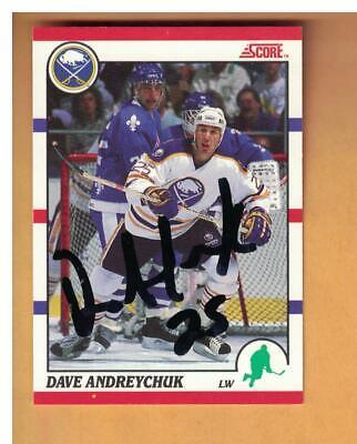 DAVE ANDREYCHUK AUTOGRAPHED 1990-01 SCORE BUFFALO SABRES SIGNED HOCKEY CARD 1990 Score Autographed Hockey Card