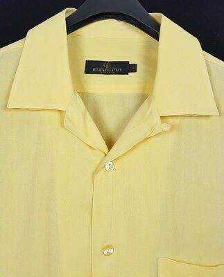 BUGATCHI UOMO Mens Yellow S/S Hawaiian Camp Shirt Large L Palms Turks Caicos image