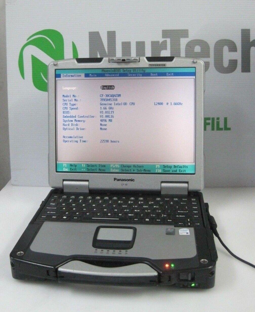 Panasonic Toughbook CF-30 CORE DUO L2400 1.66GHz 4 GB -NO HDD -NO AC