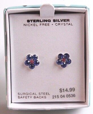 Girls Sterling Silver 925 9mm Purple Pink Crystal Flower Post Stud Earrings NIB