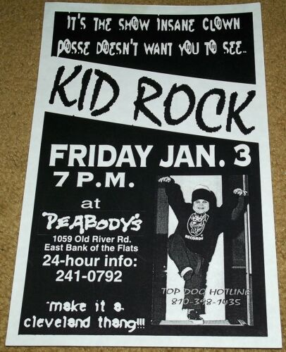 KID ROCK VS ICP FLYER Vintage Insane Clown Posse Detroit Cleveland eminem 1995