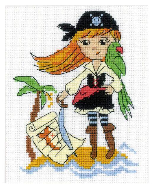 Pirate Girl Treasure Island Cross Stitch Kit 13cm x 16cm For Beginner or Kids