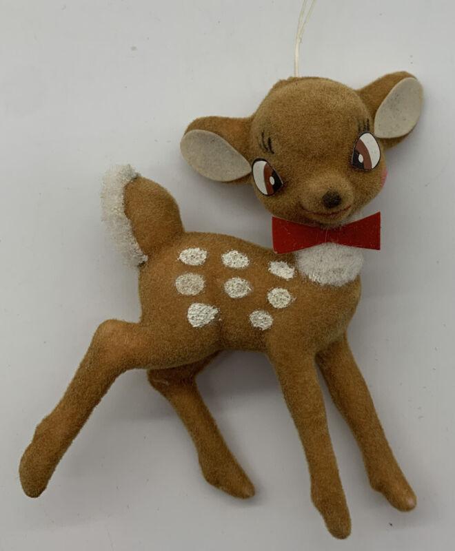 VTG Plastic Bambi Christmas Ornament Walt Disney Productions Flocked Hong Kong