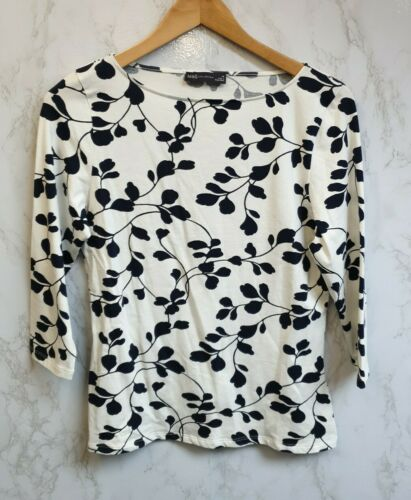 Marks And Spencer Womens Navy And Cream Floral Stretch Top Size 14