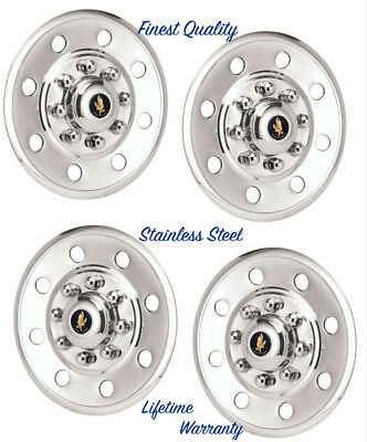 "16"" TRAILER / HORSE / TOY HAULER STAINLESS STEEL (4) WHEEL HUBCAP RIM COVERS ©"