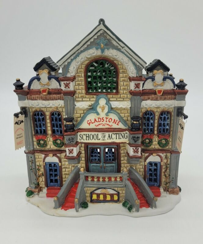 Lemax Caddington Village Gladstone School Of Acting Lighted Christmas With Box