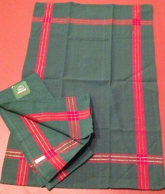 New Two Christmas Kitchen Towels 18x28 Green With Red And Gold