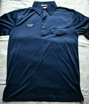 Men's VTG Golf POLO SHIRT Lancer Favorite SHirt Utah State AGGIES Navy M
