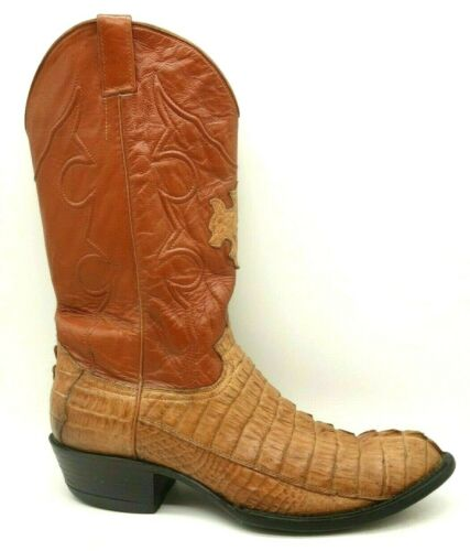 Cowtown, Boots, USA, Brown, Genuine, Caiman, Cowboy, Western, Boots, Mens, 12, D