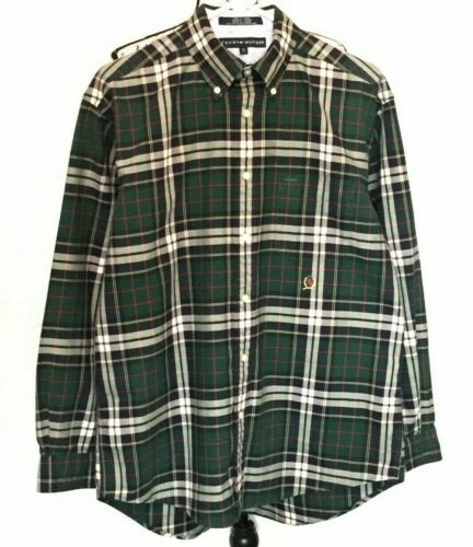 VTG Tommy Hilfiger Button Up Plaid Shirt, Green-Red, Long Sleeves, Size M