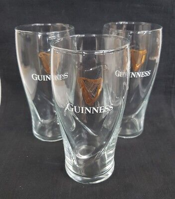 Three NEW Guinness Pint Glasses - Ideal for Home Bar - Pub