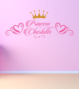 Best Princess Bedroom Art Decor Girls Wall Sticker Decal ANY Name Personalised