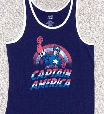Men M/L(See Size Chart!) CAPTAIN AMERICA TANK TOP Navy/White/Red Marvel Comic