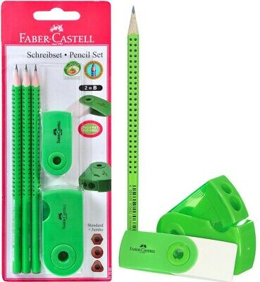 Faber - Castell Grip 2001 2b Pencil Eraser Sharpener Green 5 Pcs Set Packed