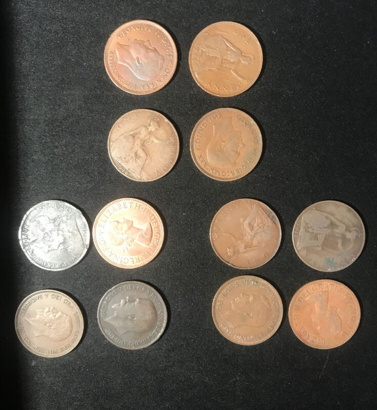 Lot of 12 Great Britain Large Pennies 1901-1962 PENNY