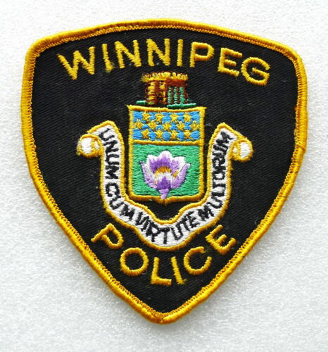 2 PIECE SET - Obsolete Police Patch - WINNIPEG Manitoba Canada - EXCELLENT