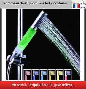 Pommeau de douche droit robinet lumiere led 7 couleurs ebay - Pommeau de douche couleur ...