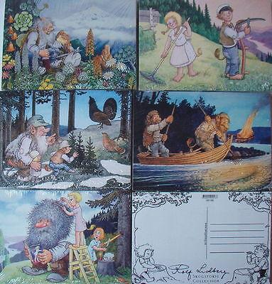 5 Postkarten Trolle Rolf Lidberg 5 verschiedene Motive