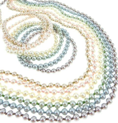 12pc Set Vintage Pastel Faux-Pearl Strand Necklaces & Bracelets Girly