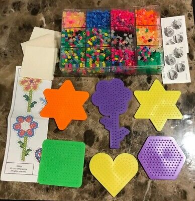 Perler BEAD Activity Craft Lot Beads/Organizer 6 Peg Boards Patterns Iron Paper](Perler Bead Paper)