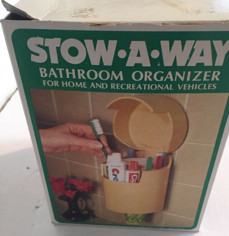 Vintage STOW-A-WAY Bathroom Organizer For Toothbrush Toothpaste Cups Retro