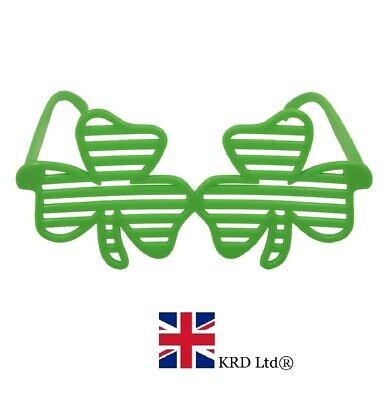 St Patrick`s Day SHAMROCK SHUTTER GLASSES Irish 4 Leaf Clover Saint Green NEW - St Patrick Saint Kostüm