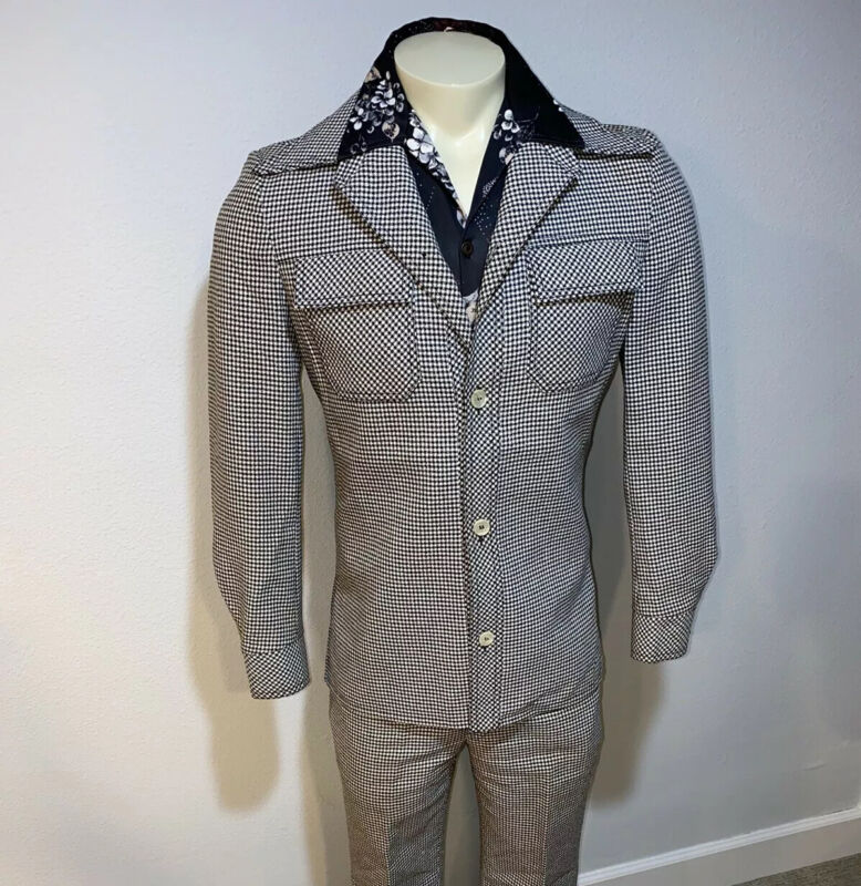 Vtg 60s 70s HOUNDSTOOTH Polyester LEISURE SUIT Mens 38 Jacket 32 30 Pants DISCO