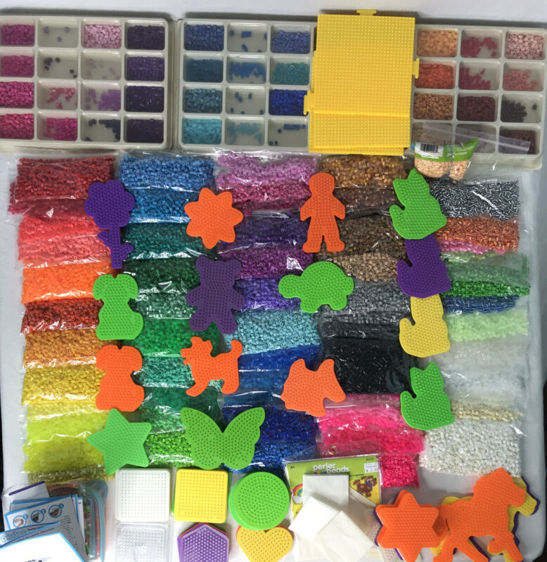 Perler Beads Huge Separated Lot Many Colors Peg Boards Ironing Paper 45,000+