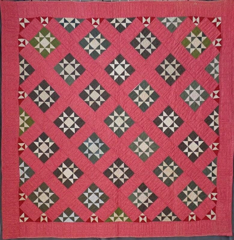 Crisp Never Used! Antique c1880 Cinnamon Pink Ohio Star QUILT 79x79 Lancaster PA